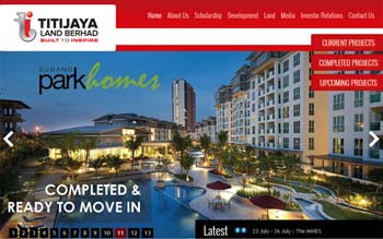 TITIJAYA LAND BERHAD - Award Winning Website 2014 - Website Designed by Skytomato in Malaysia