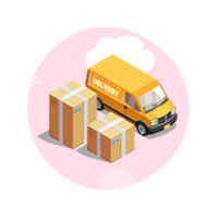 delivery van with boxes icon