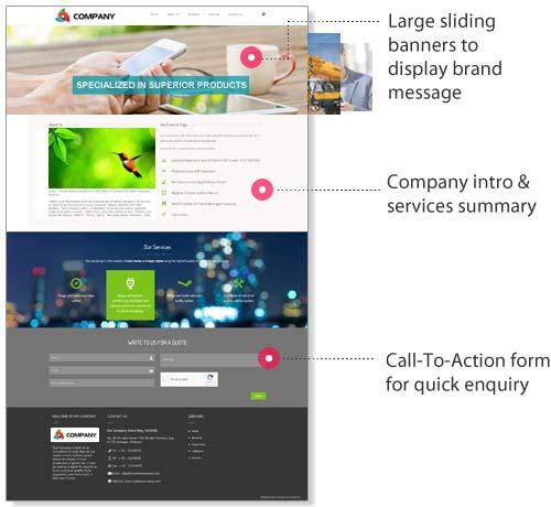 corporate website feature